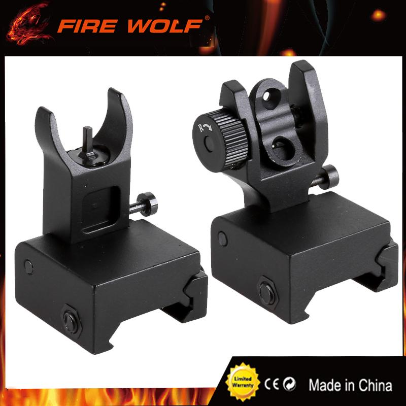FIRE WOLF Front Rear Iron Sight Set Flip Up Rapid Transition A2 Mil Spec  Folding Sight for 20mm Picatinny / Weaver Rails