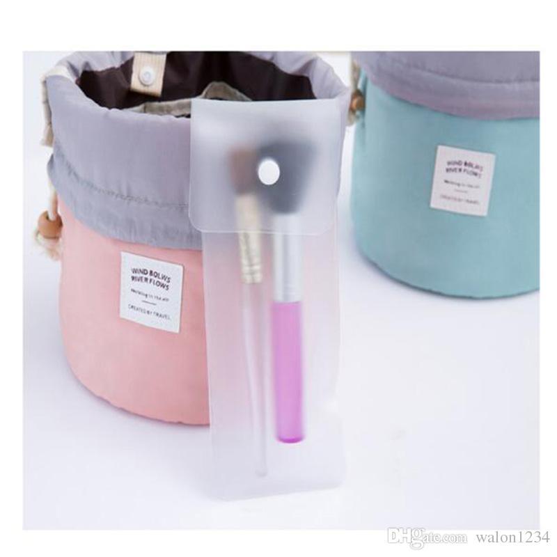 Alta Qualidade Barril Em Forma de Saco de Viagem Cosméticos Nylon Wash Bags Organizador de Maquiagem Saco De Armazenamento De Alta Capacidade