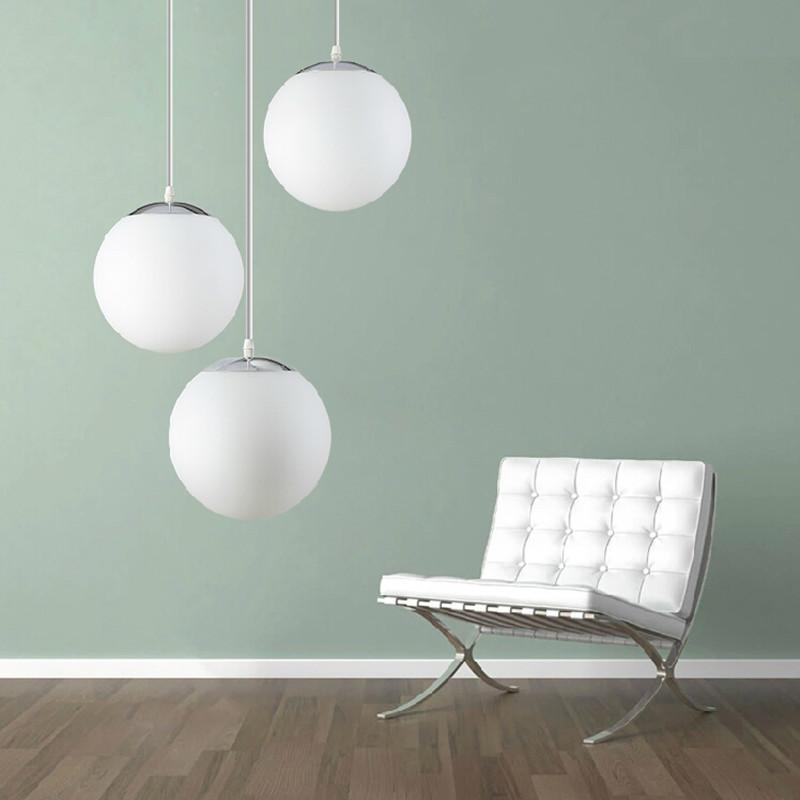 White frosted glass ball global pendant light e27 white lampshade white frosted glass ball global pendant light e27 white lampshade pendant lamp lustres hanging lamp light fixtures suspension pendant lights for kitchens aloadofball Choice Image