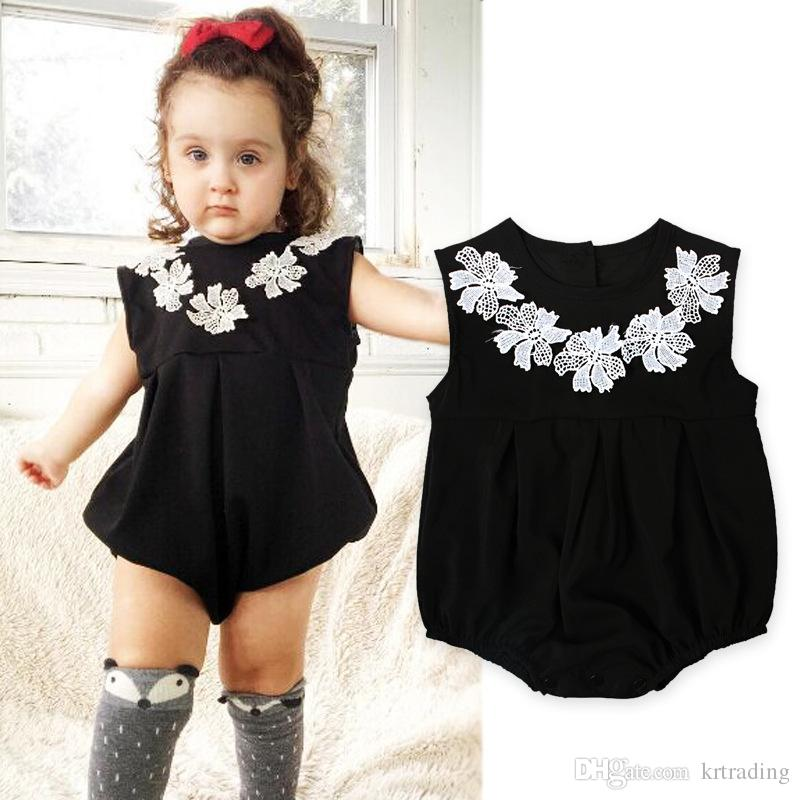 82cffb85ad8 2019 Baby Girls Pure Black Flower Collar Romper Infants Kids Solid Color  Simple Style Sleveless Romper Toddlers Sleeveless Outfits 6sizes For 0 2  From ...