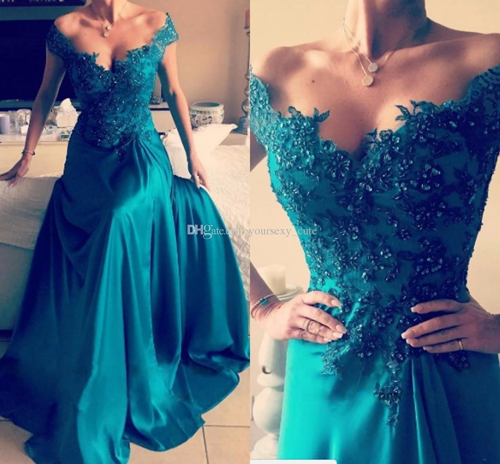 Elegant Turquoise Green Off Shoulder Evening Dresses Applique Sequins Elastic Satin Split Side Backless Formal Evening Gowns Sexy Prom Dress