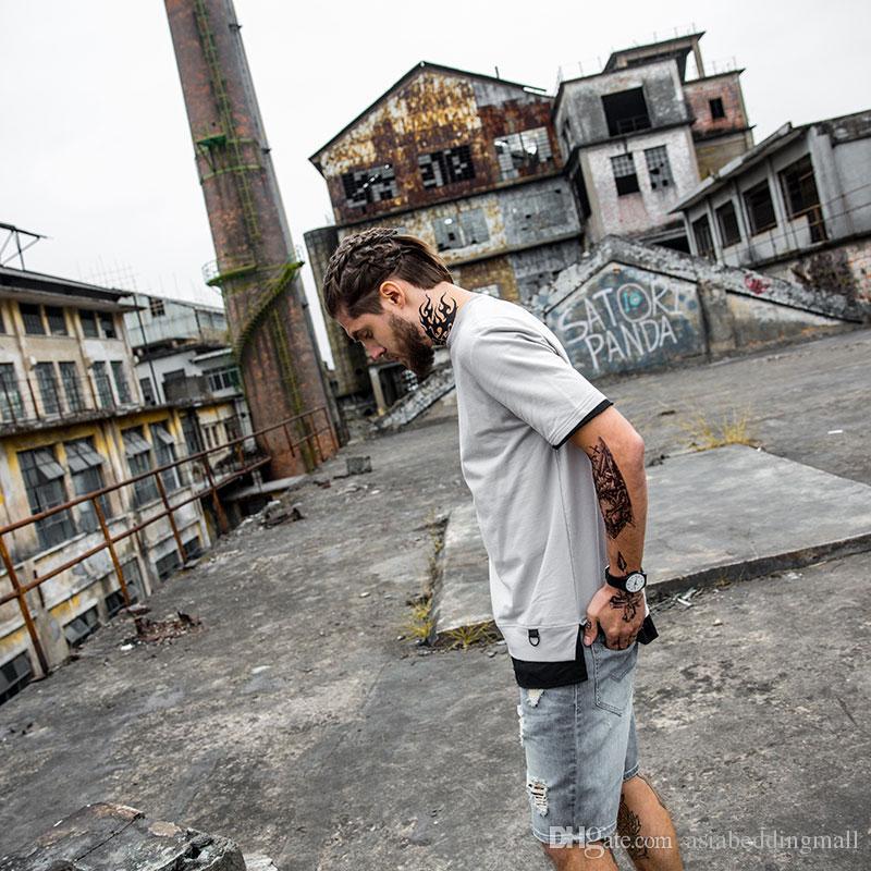 2017 New Fashion Spring Summer Skateboard Patchwork T Shirts Hip Hop Urban Street Wear T Shirt Crew Neck Cotton T-Shirts for Men