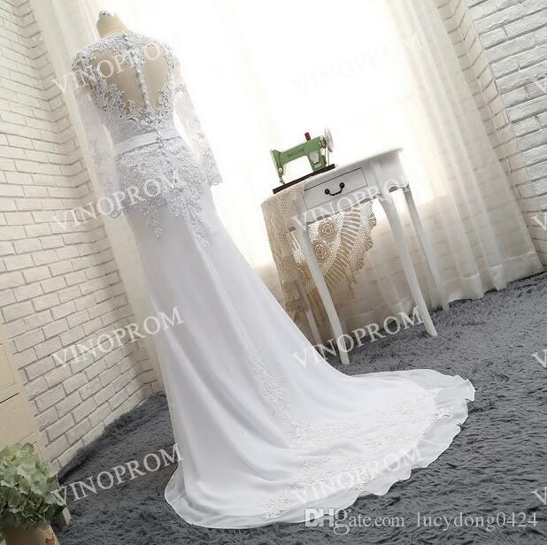 Элегантный белый аппликация Русалка платья вечерняя одежда V-образным вырезом полые назад с длинными рукавами развертки поезд Пром платья