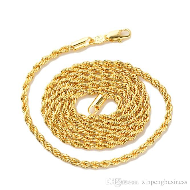 "18k Yellow Real Gold GF Men's Women's Necklace 24""Rope Chain Charming Jewelry Best Packaged with Free Gift Packaged Have Tracking Number"