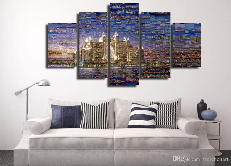 5 Paneli HD Baskılı Dubai Seyahat Sanat Tuval Odası Dekor poster resim Modern Wall Art Kanvas Tablo Baskı Baskı Boyama
