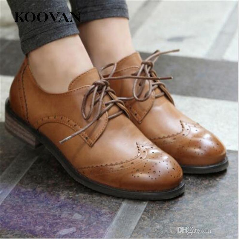 5411ea69843d Satın Al Koovan Moda Kadın Ayakkabıları 2017 Yeni Sonbahar Klasik Avrupa  Düz Platform Tek Ayakkabı Old School Style Sivri Uçlu Toplayıcı Topuk W019