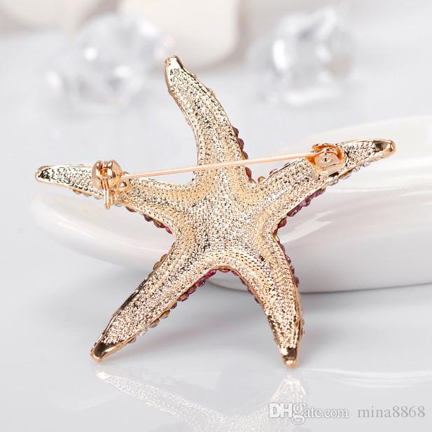 wholesale Crystal Rhinestones Starfish Brooch Pin for women dress jewelry red/blue/green full crystal star brooches