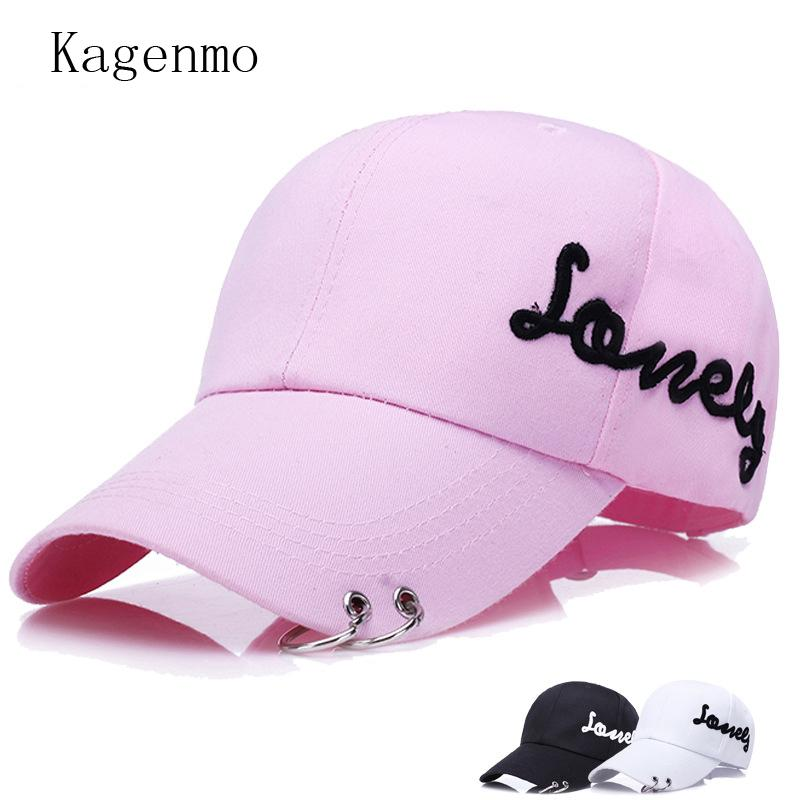 Letter Embroidery Metal Ring Hat Fashion Hipster