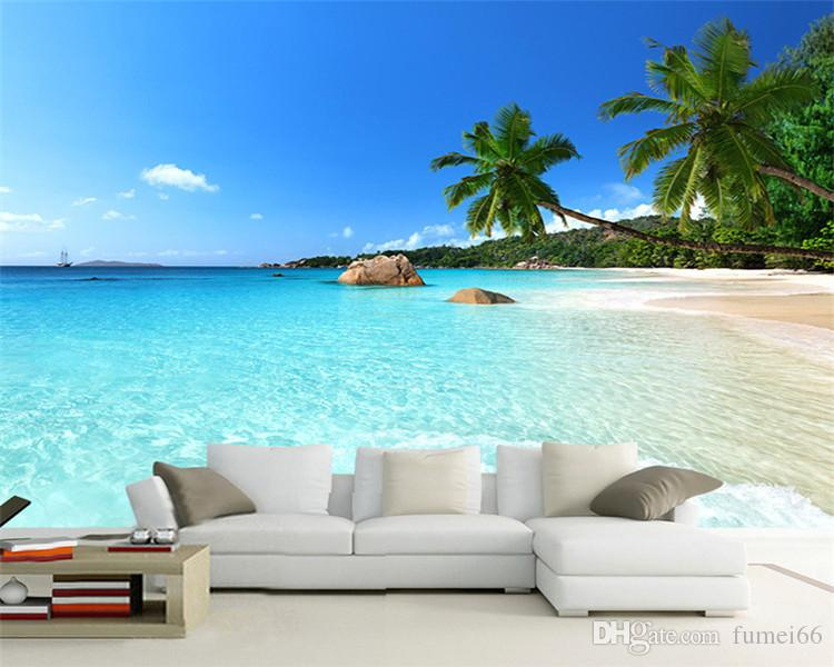Custom 3D Photo Wallpaper Seascape Beach Palm Wall Covering Mural Roll For Living Room Bedroom Background Wallpaper De Parede