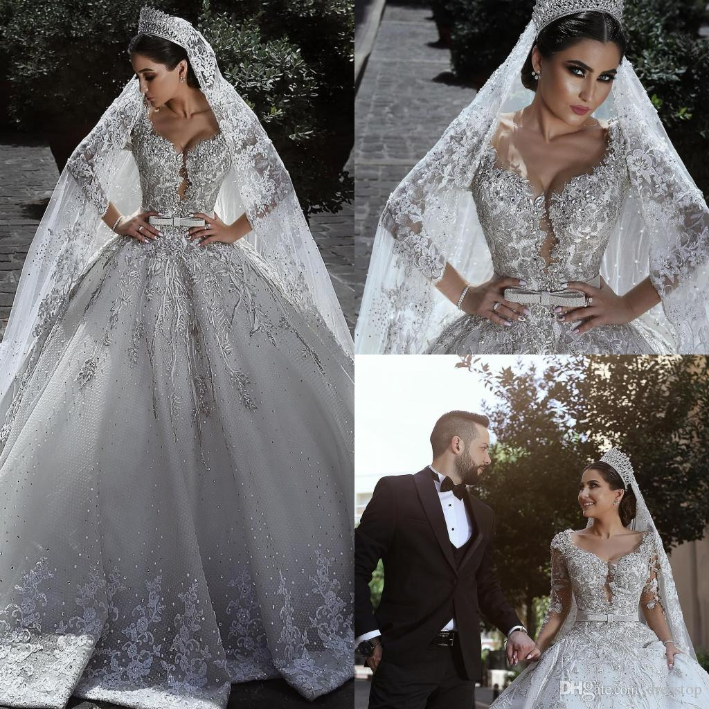 Luxury Lace Ball Gown Wedding Dresses V Neck Lace Crystal Bridal Gowns Robe  De Mariée Plus Size Long Sleeve Wedding Dress Custom Hawaiian Wedding  Dresses ... 516a2b048ae6