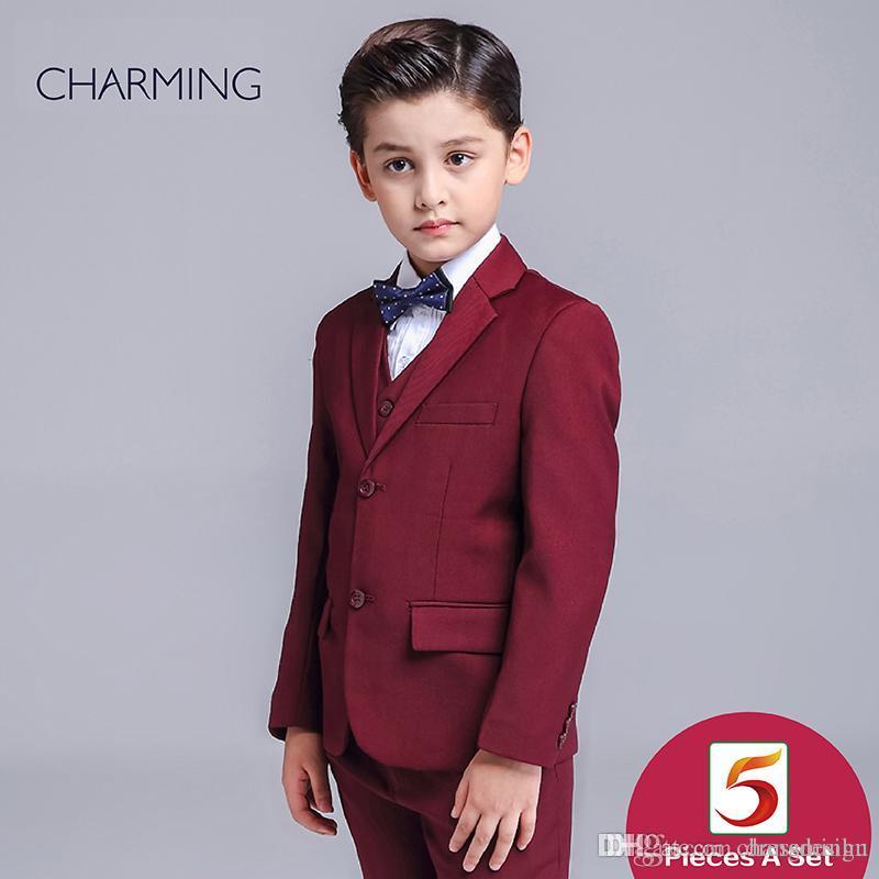 Formal Wear For Boys Three Piece Suit Dark Red High Quality Baby Boy