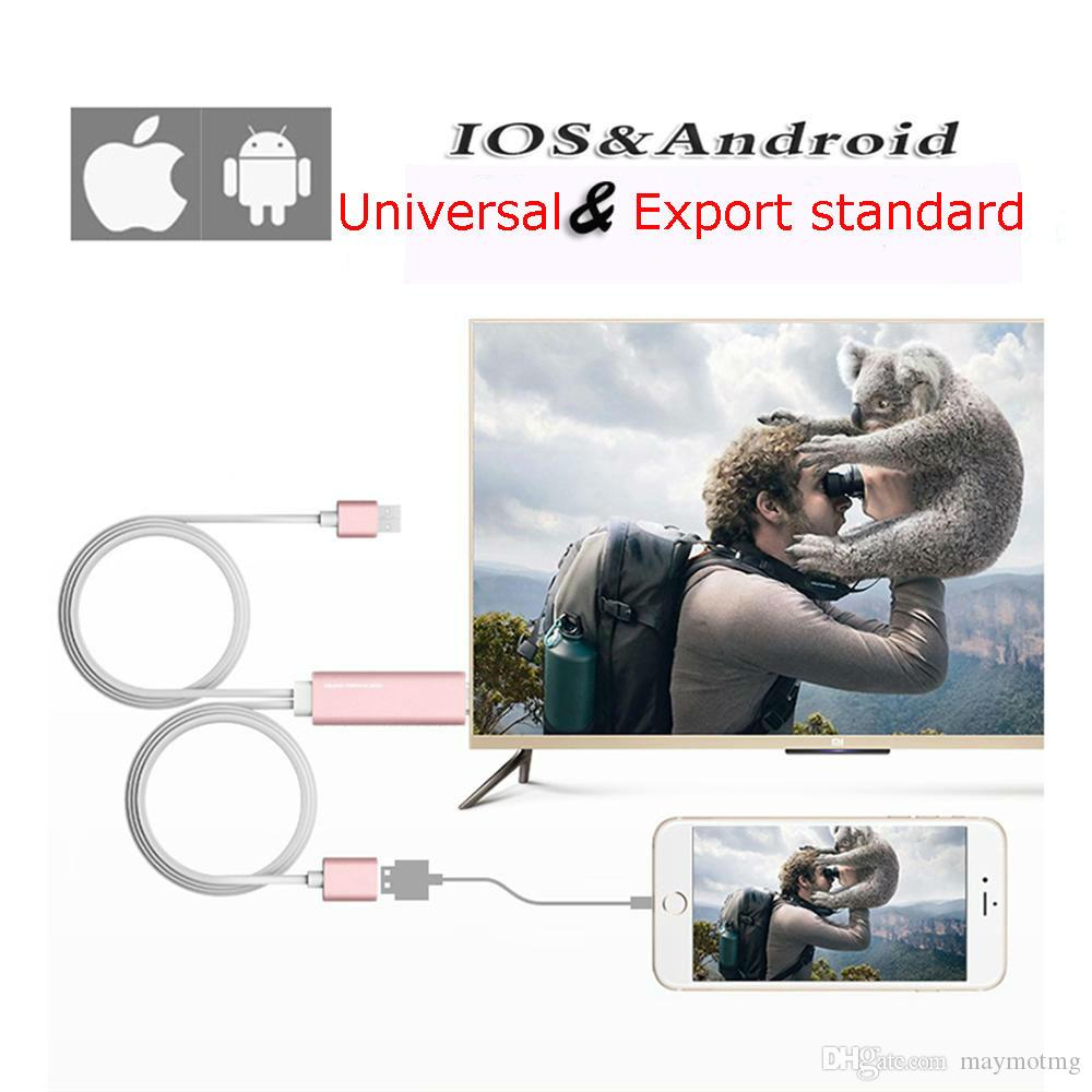 1M Universal HDMI Cable for iPhone Android and Type C 4k High Speed HDMI Cable Adapter HDTV TV for Samsung s8 s8 Plus