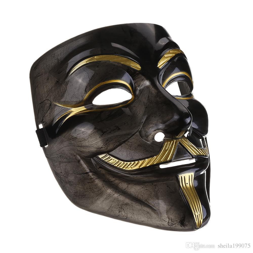 2017new V маска черная маска вендетта с подводкой ноздри анонимный парень Фокс необычные взрослый костюм Хэллоуин маски