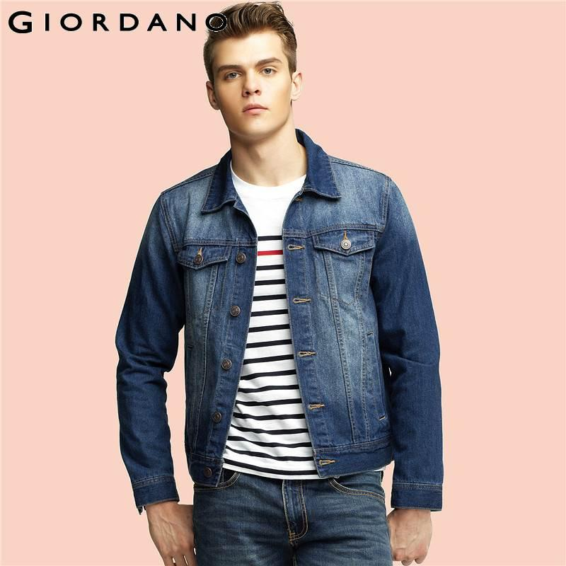 a022e212633 Wholesale- Giordano Men Denim Jacket Long Sleeves Outerwear Multi ...