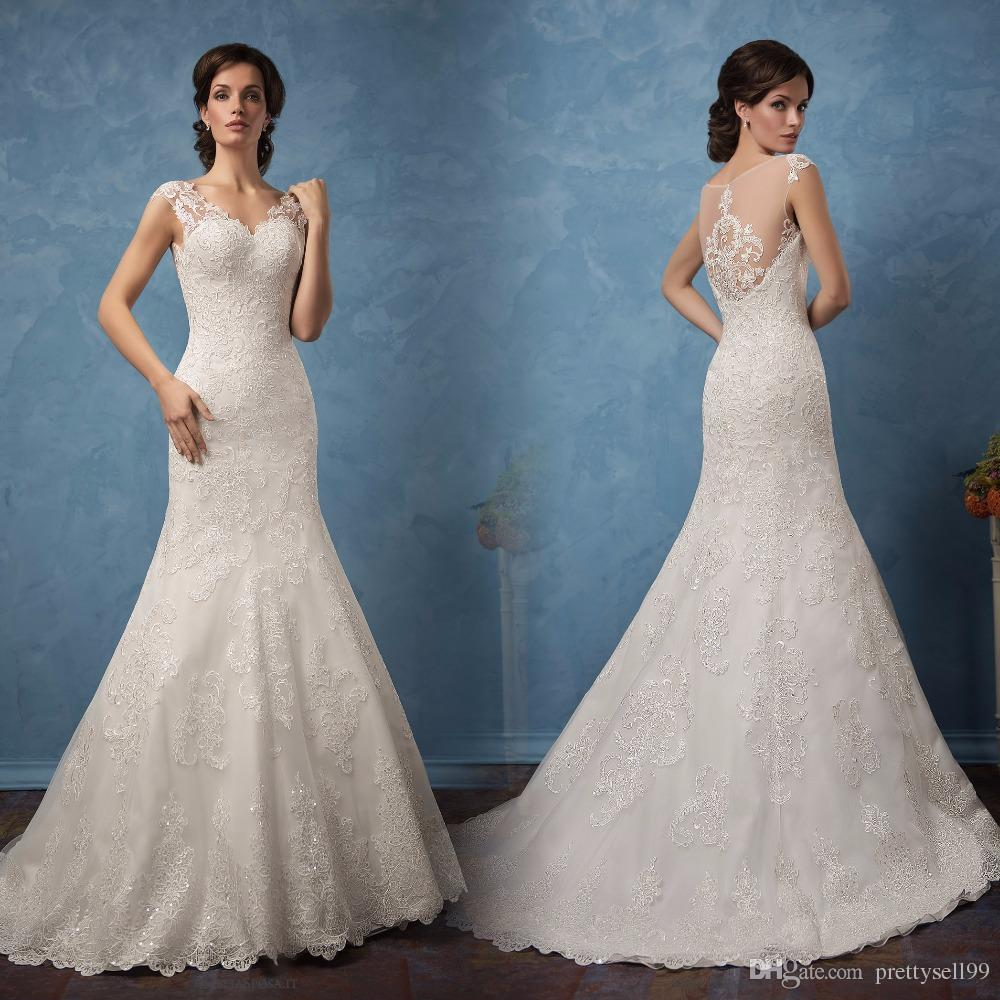 Custom Off Shoulder Lace Mermaid Wedding Dresses with Appliques Detachable Train V Neck Tulle Wedding Bridal Gowns
