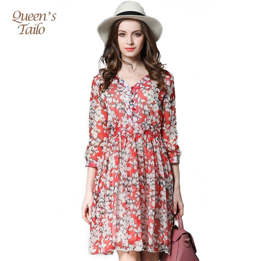 Compre Queen\'s Tailo Verano Cuello En V Mujer Floral Impreso Midi ...