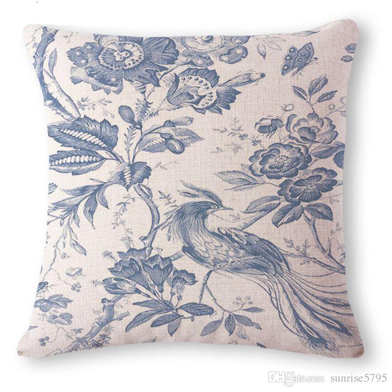 décoratif housse de coussin chinois en porcelaine bleu canapé chaise oreiller jet cas phénix ALMOFADA ethnique cru cojines