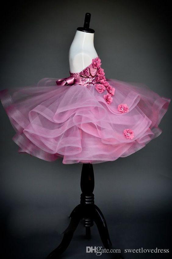eleganti abiti a fiori con volant a balze bambini Matrimoni Sweetheart paillettes fatti a mano Abiti da spettacolo bambini Backless Piano-Lunghezza