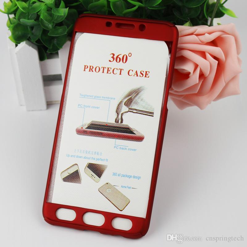 Cheapest! Caso 360 gradi della copertura della cassa corpo copertura di protezione Full Body dura del PC completa, vetro temperato iPhone Huawei Samsung