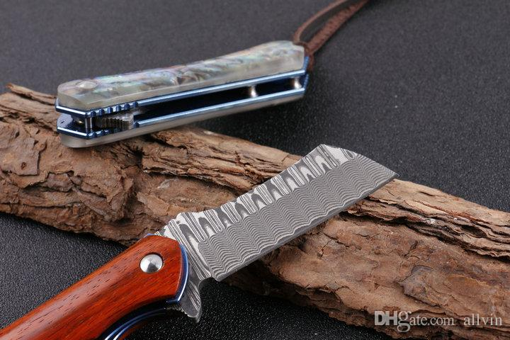 2 Styel Top Quality Damascus EDC Pocket Knife Flipper Knife Gift Knives With Nylon Sheath and Retai box package