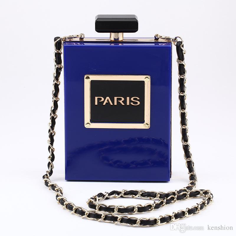 Hot Fashion 12 Farben Marke PARIS Parfüm Tasche Flasche Form Handtasche Kupplung Acryl Abendtaschen Kette Messenger mit Schultergurt - PZ01
