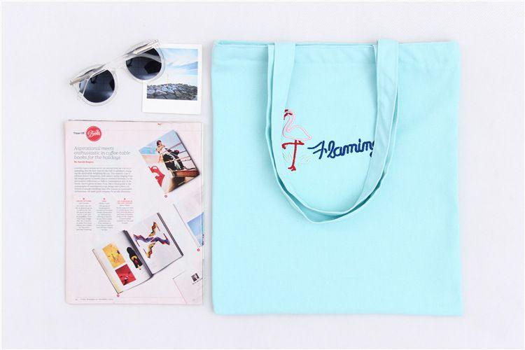 12шт Женщины Shopper plegable многоразовых вышивок фламинго Tote Сумка Хлопок Холст Покупка сумка Eco мешки goodfaithgirl бесплатной доставка