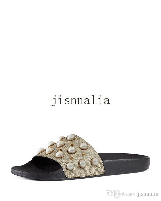 1adb0195b3d57 New Arrival Mens And Womens 2017 Fashion Causal Flat Slide Sandals With Pearl  Effect And Gold Toned Studs Espadrilles Birkenstock Sandals From Jisnanlia
