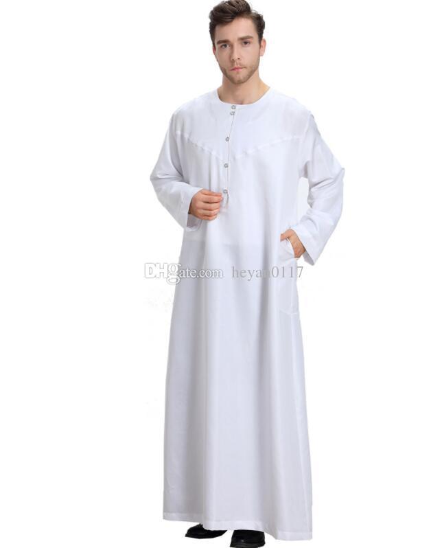 614c9ed7e Ropa musulmana árabe para hombres Thobe árabe islámico vestido Abayas indio  para hombre Kaftan Bata hombres XXL XXXL ropa de talla grande 2 colores