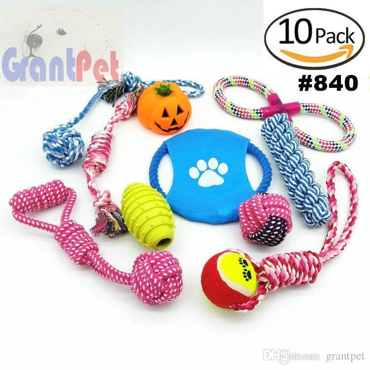 10 paket kiti Pet köpek carrierPuppy Pamuk Çiğneme Topu Kemik Düğüm köpek aksesuarları Agresif Çiğnemek için Köpek Oyuncaklar