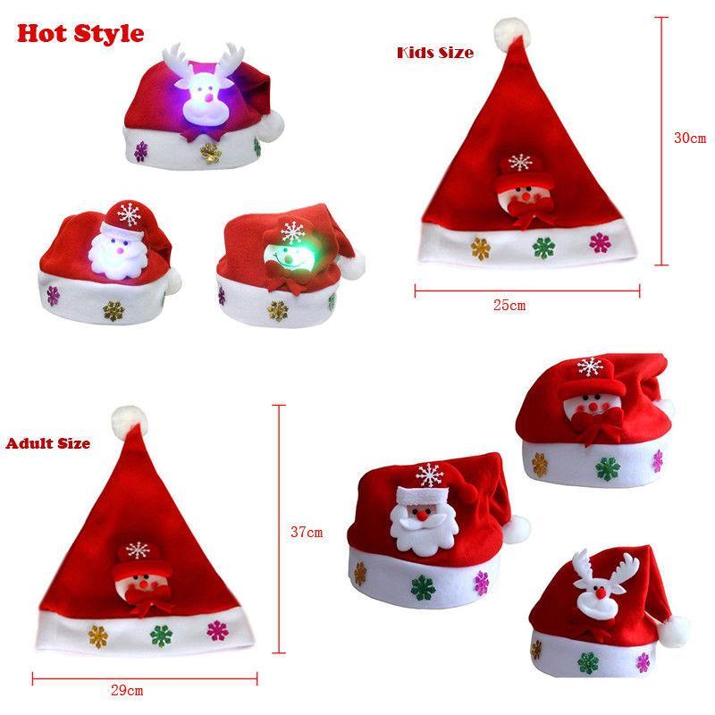 Xmas traje chapéu de natal crianças adulto levou chapéu de natal papai noel rena boneco de neve presentes de natal cap crianças acessórios
