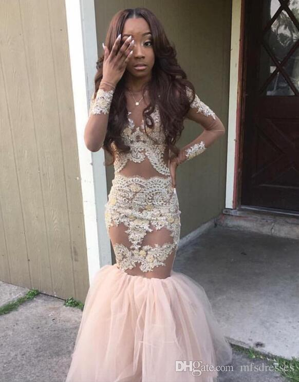 2017 New Girls Prom Dresses Mermaid Gold Appliques Long Sleeves