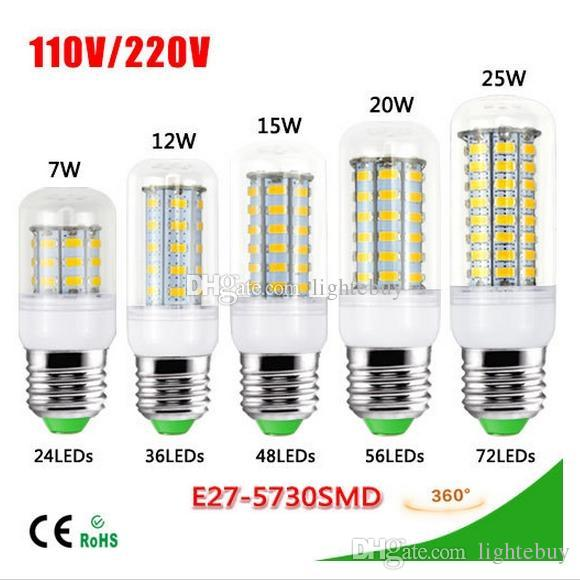 Free shipping 7W 12W 15W 20W 25W E27 LED Corn Bulb 220V SMD5730 LED lamp Spotlight 24LED 36LEDs,48LEDs,56LEDs,69LEDs For light led bulb