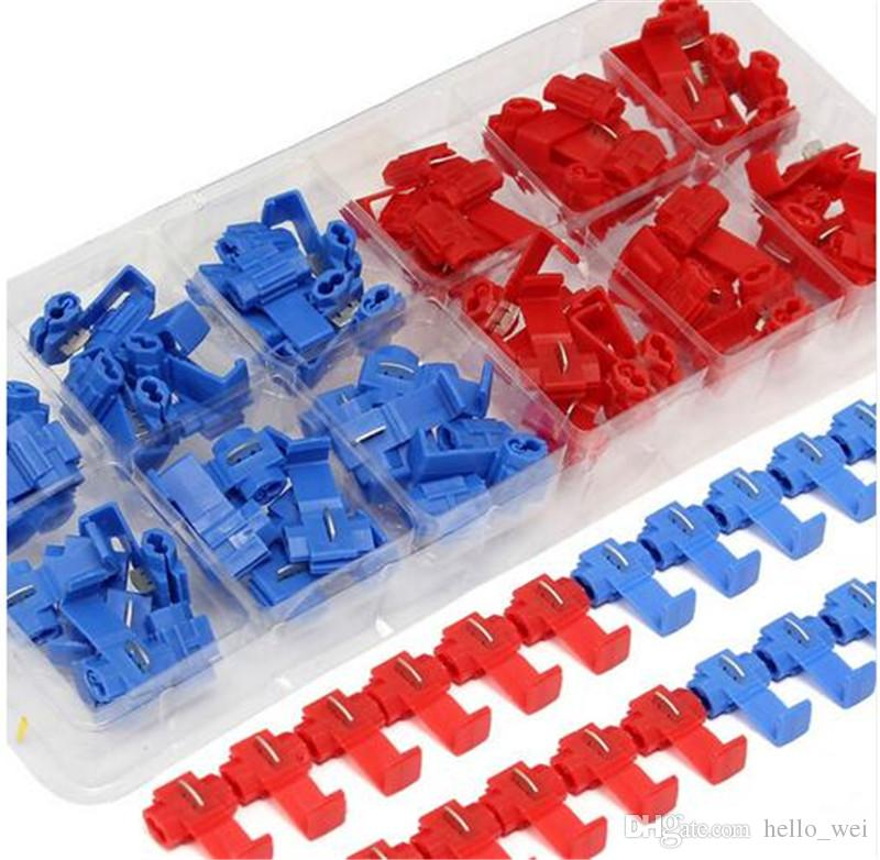 Quick Splice Wire Connector Blue Red Electrical Cable Fast Nylon Terminal Crimp