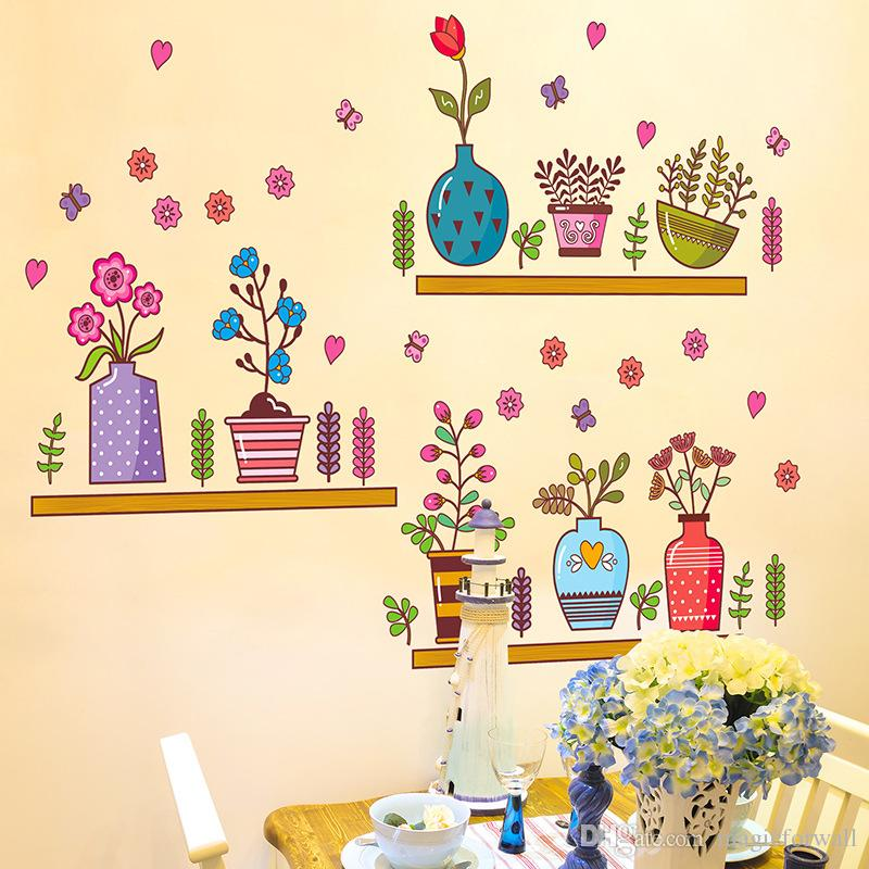 colorful potted flowers with shelves wall stickers window glass rh dhgate com