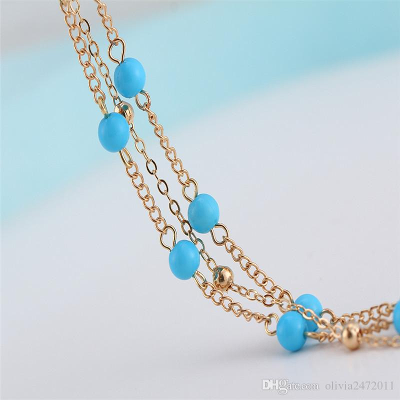 Vintage Multi layer Silver Gold Chain Anklets For Women Bohemian Anklet Bracelet Barefoot Sandals Foot Jewelry HZ