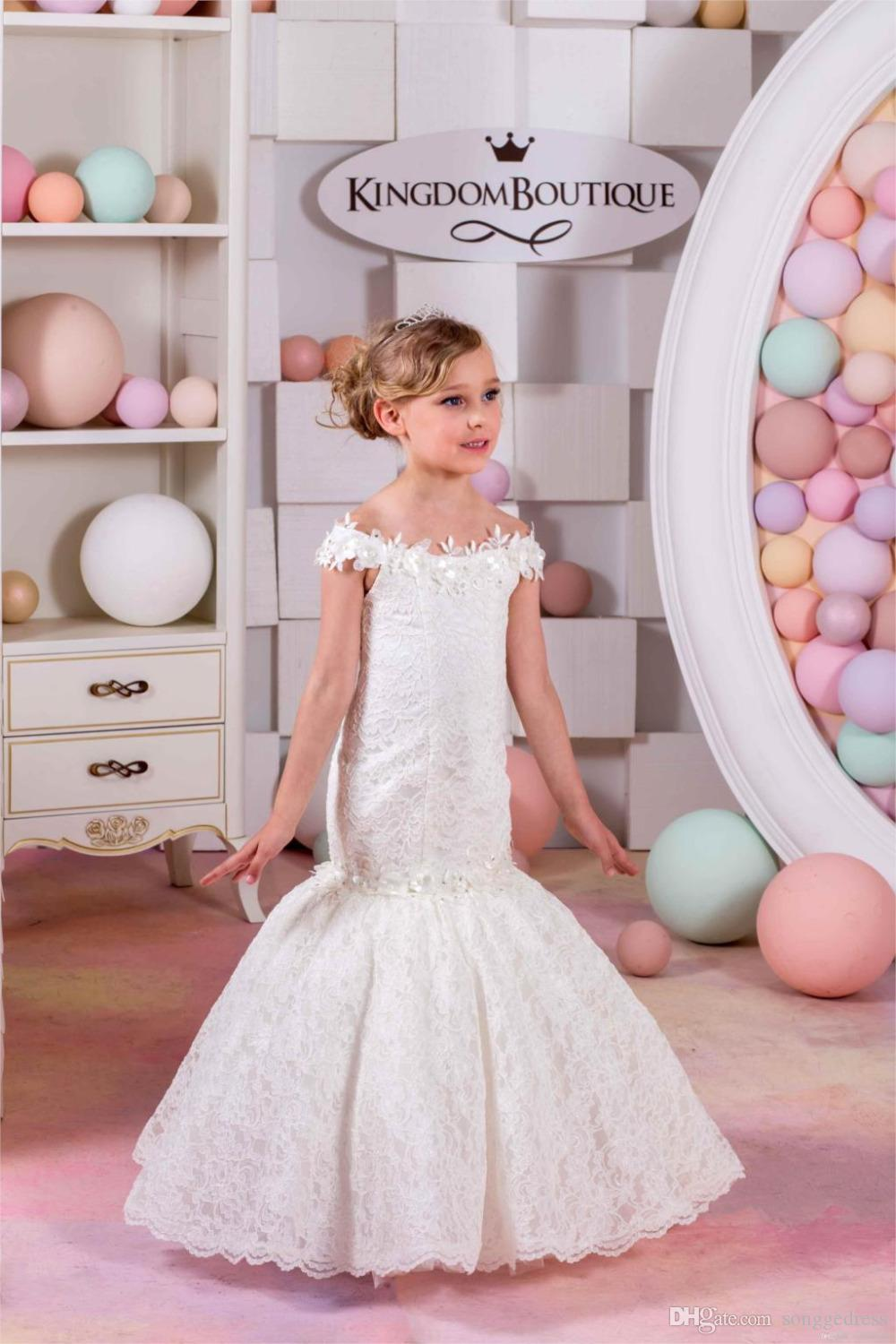 2017 Mermaid Lace Flower Girl Dresses For Weddings Ivory Kids Evening Dress Holy Communion Girls Pageant Gowns Wedding