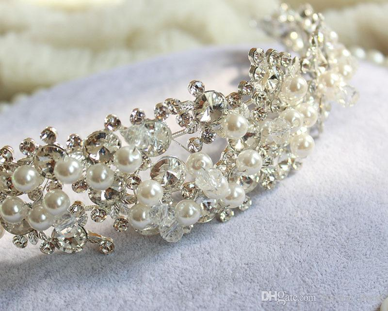 Hot ! 2017 Luxurious Crystals Pearl Bridal Big Crown and Tiaras High Quality Handmade Beaded Wedding Hair Accessoreis New Arrive