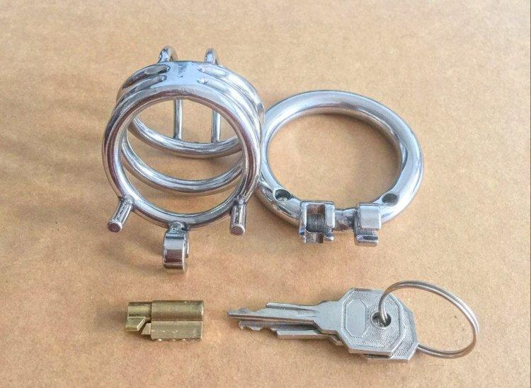 Son Tasarım Paslanmaz Çelik Küçük Erkek Iffet cihazı Yetişkin Cock Cage Curve Cock Ring Seks Oyuncakları Ile Esaret Iffet Kemer