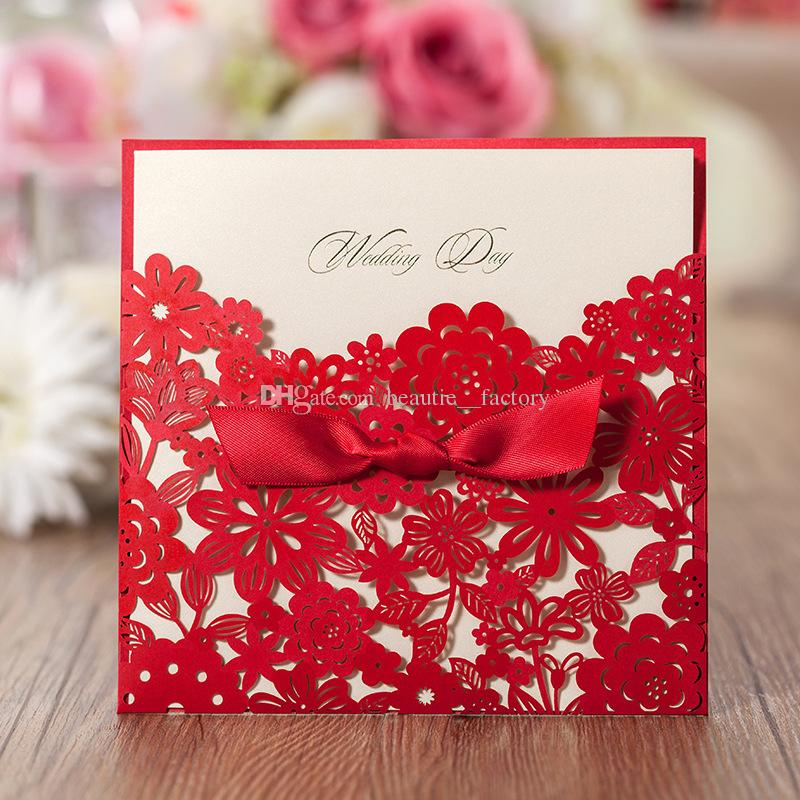 box wedding invitations online%0A Laser Cut Wedding Invitations Cards with Envelopes Red Pattern Bowknot  Wedding Party Invitation Unique Design B     Invitation Online with        Piece on