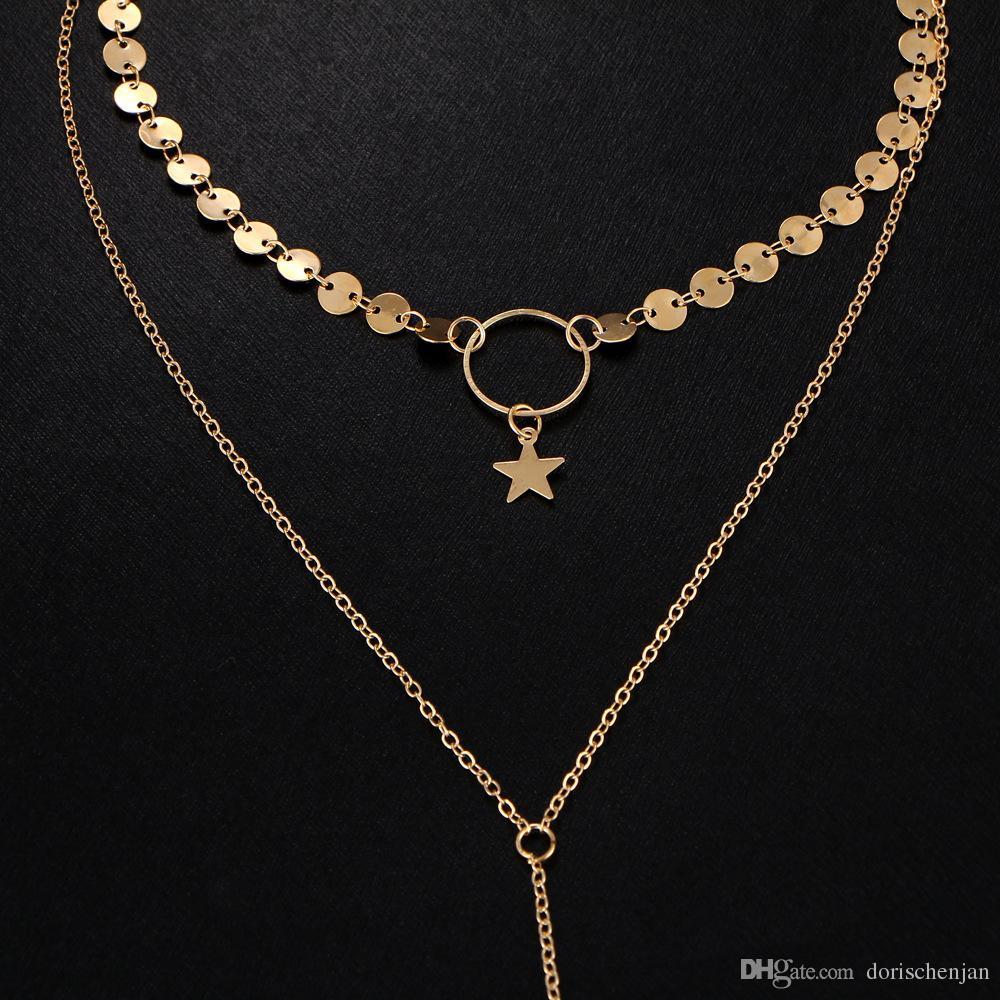 Collane gioielli in lega catena di diamanti multistrato lungo collane le donne uomini perline stringa nappa barra di metallo a strati collana catena d'oro