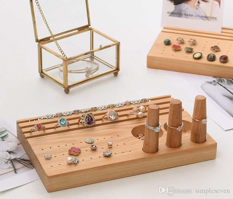 [Simple Seven] Muji Style Jewelry Ring Display High Quality Earring Studs Tray Natural Wooden Jewelry Pendant Trays