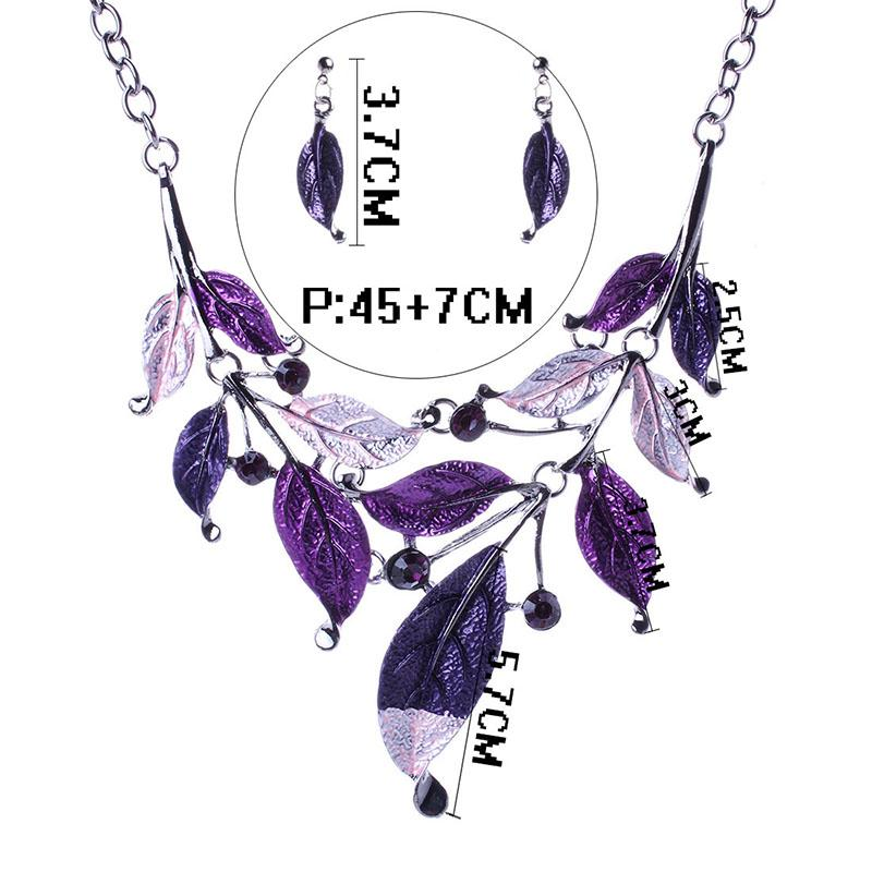 Enamel Branch Leaves Necklace Earrings Jewelry Sets Crystal Leaves Statement Jewelry for Women Gift Drop Shipping