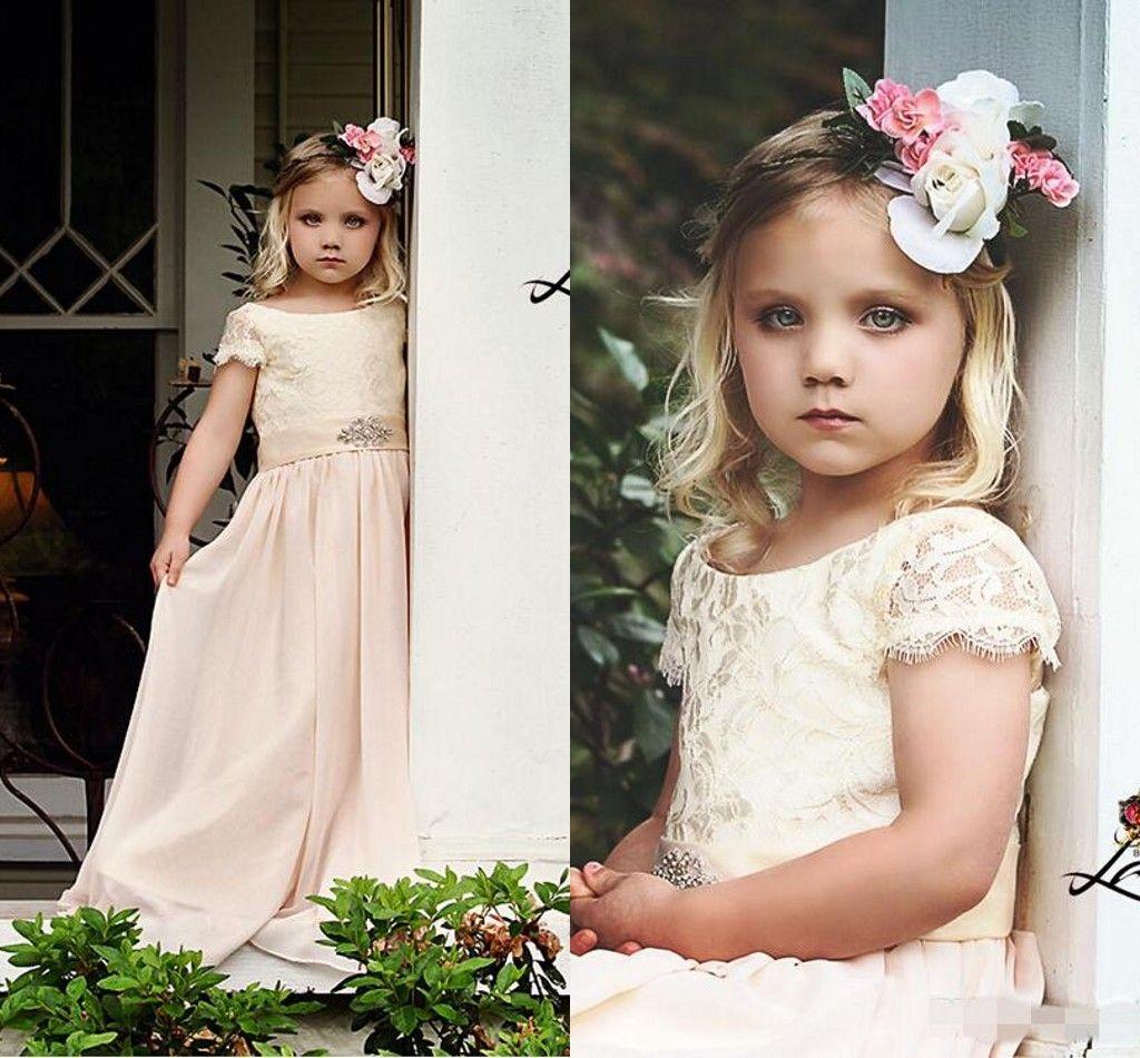 Cheap Flower Girl Dresses For Bohemia Vintage Wedding Jewel Neck