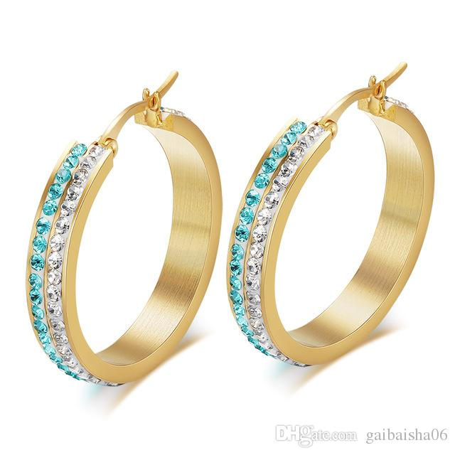 Meaeguet Fashion Women Party Earring Gold Color con Austrian Full Cristales Mujeres Big Hoop Earrings EH-104