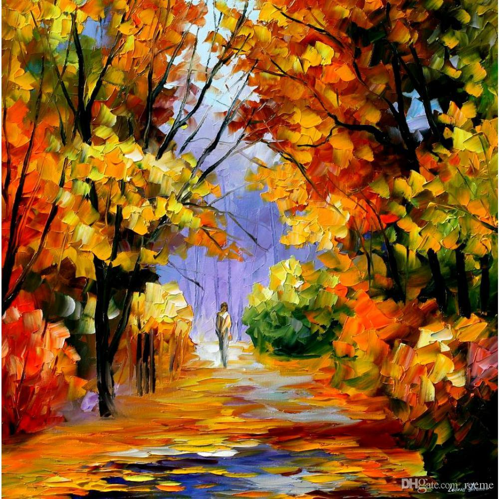 2018 beautiful landscape paintings unity with nature palette knife art wall pictures for living room from reeme 10654 dhgatecom
