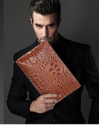 Borse da uomo Pochette Genuine Pelle di coccodrillo Morbido Sbordy Uomo Small Business Pochette Borse 29cm Ampio volume super grande