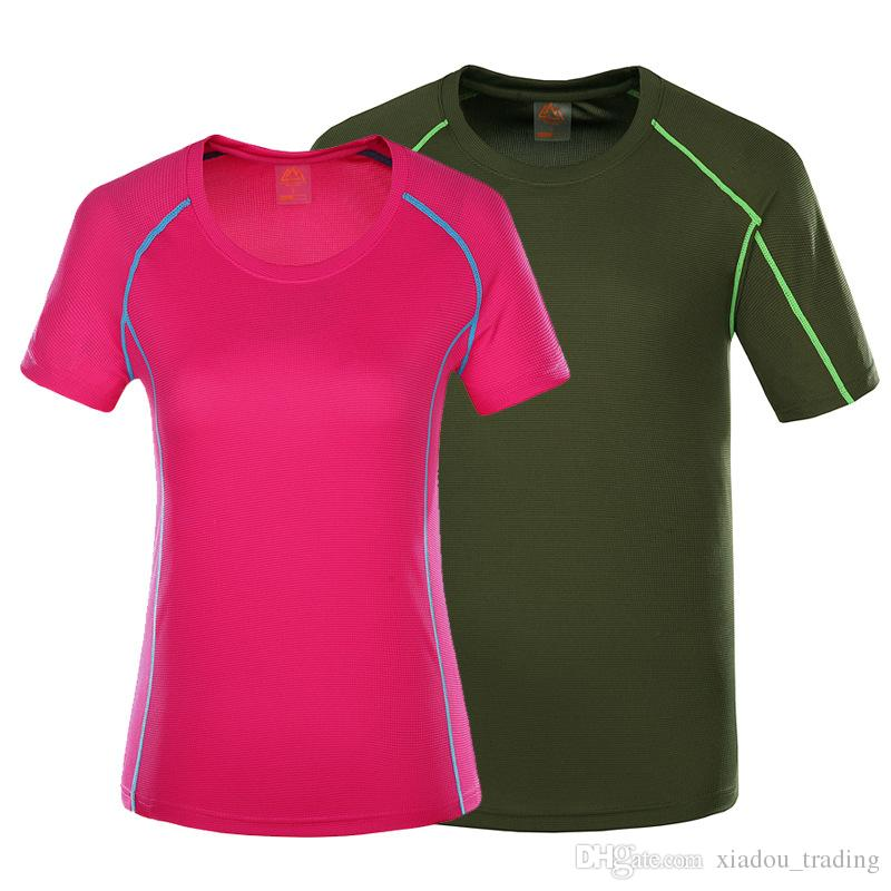 48e94d0a8129 2019 Outdoors Running Quick Drying T Shirts Couple Breathable Short Sleeve  Leisure Sports Tracksuit Women S Colorful Clothing Body Building Coat From  ...