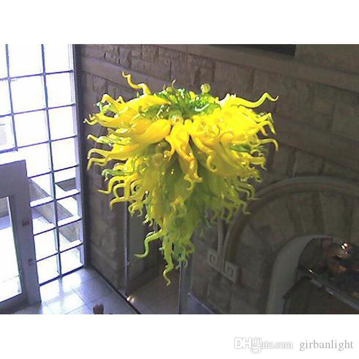 Hohe Decke dekorative mundgeblasenem Glas Kronleuchter nach Maß Murano Glas Chihuly Stil moderne Kunst LED Kronleuchter für Home Villa Foyer Decor