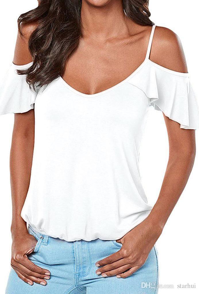 Neue Frauen-reizvolle Hemd-T-Shirt Schlinge strapless fliegende Hülsen-Mantel-beiläufige Art- und Weisebluse-feste Sommer-Hemd-Frauen Vestido WX-F02