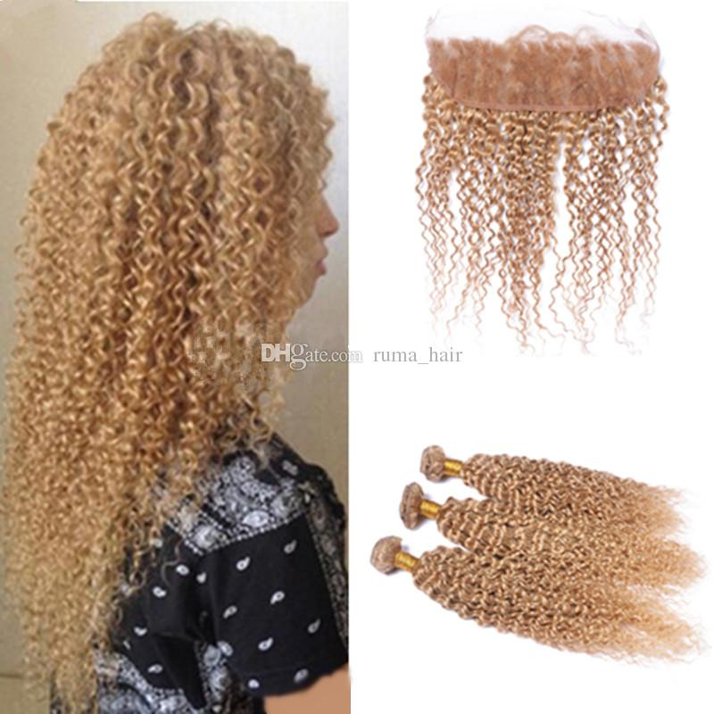 Brazilian Virgin Hair Weave 27 Honey Blonde Afro Kinky Curly Lace